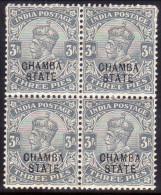 INDIA CHAMBA 1913 SG #43 3p In A Block Of 4 MH Wmk Single Star - Chamba