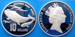 AUSTRALIA 10 $ 1996 ARGENTO PROOF WILDLIFE BALENA SOUTHERN RIGHT WHALE PESO 20g TITOLO 0,925 CONSERVAZIONE FONDO SPECCHI - Australia