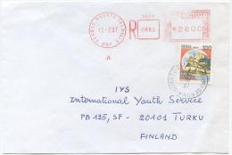 1987 CASTELLI L. 100 INTEGRAZIONE AFFRANCATURA MECCANICA L. 2800 BUSTA RAC. X FINLANDIA 13.2.87 NON COMUNE (6720) - 1971-80: Storia Postale
