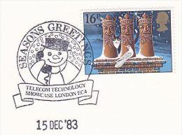 1983 GB CHRISTMAS TELECOM EVENT COVER Illus SNOWMAN HOLDING TELEPHONE London Stamps - Telecom
