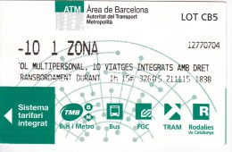 Spain , Barcelona   , Metro - Bus  - Autobus - Tram  Ticket  , 2015 - Subway