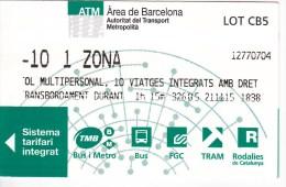 Spain , Barcelona   , Metro - Bus  - Autobus - Tram  Ticket  , 2015 - Europe