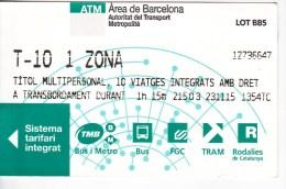 Spain , Barcelona   , Metro - Bus  - Autobus - Tram  Ticket  , 2015 - Tram