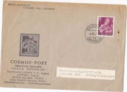 1952 Schaan LIECHTENSTEIN Stamps COVER Illus AVDERT ´ COSMOS POST ´ PHILATELIC MAGAZINE - Covers & Documents