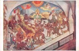 "03903 ""MEXICO - PALACIO NACIONAL - LA LEYENDA DE QUETZALCOATL"" AFFRESCO MURALES DI DIEGO RIVERA. CART. NON  SPED. - Messico"