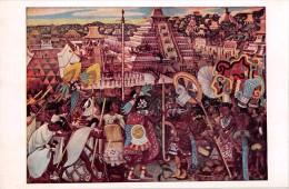 """03905 """"MEXICO - PALACIO NACIONAL - FIESTA DE XICOMECOATL EN PAPANTLA"""" AFFRESCO MURALES DI DIEGO RIVERA. CART. NON  SPED. - Messico"""