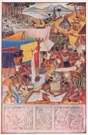 """03906 """"MEXICO - PALACIO NACIONAL - COLORANTES COLORING"""" AFFRESCO MURALES DI DIEGO RIVERA. CART. NON  SPED. - Messico"""