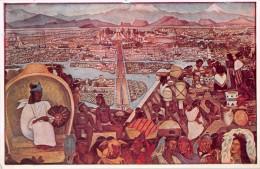 """03907 """"MEXICO - PALACIO NACIONAL - LA GRAN TENOCHTITLAN"""" AFFRESCO MURALES DI DIEGO RIVERA. CART. NON  SPED. - Messico"""