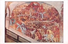 """03912 """"MEXICO-PALACIO NACIONAL-THE STRUGGLE OF THE CLASSES ACCORDING CARL MARX"""" MURALES DI DIEGO RIVERA. CART NON  SPED - Messico"""