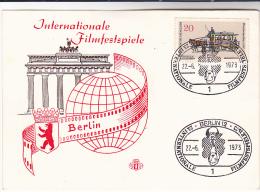 1973 BERLIN INTERNATIONAL FILM FESTIVAL EVENT COVER (card) Cinema Movie Germany Stamps - Cinema