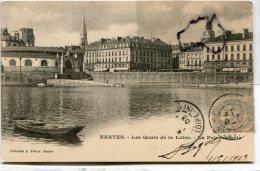 - NANTES - Les Quais De La Loire, La Poissonnerie, Peu Courante, écrite, 1903, épaisse, Barque, TBE, Scans. - Nantes