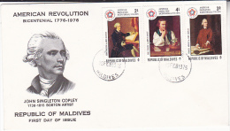 1976 MALDIVES FDC US BICENTENNIAL ART Stamps Cover - Maldive (1965-...)