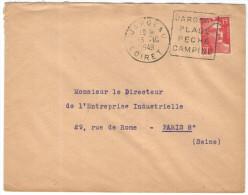FRANCIA - France - 1949 - 15F + Flamme Jargeau, Plage, Peche, Camping - Viaggiata Da Jargeau Per Paris, France - 1945-54 Maríanne De Gandon