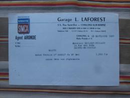 """51 CHALONS SUR MARNE """"GARAGE L. LAFOREST""""  PUB  VEDETTE SIMCA  ARONDE - Automobile"""