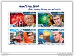 MALDIVES 2015 ** M/S Nobel Prize Winners 2014 - Akasaki Betzig Yousafzai Moser A1508 - Nobelpreisträger