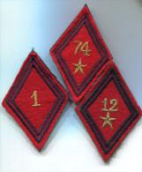 M87 LOT DE 3 LOSANGE DE BRAS MODELE 45 SUR VELCRO ARTILLERIE - Patches