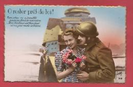 Tankiste Et Son Amoureuse ... Tank Renault En Arrière Plan -1 ( Voir Verso ) - Régiments