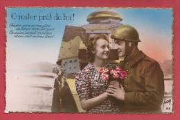 Tankiste Et Son Amoureuse ... Tank Renault En Arrière Plan -2 ( Voir Verso ) - Régiments