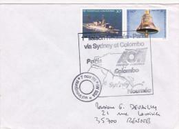 1er Vol Nouméa Sydney Colombo Paris - 1995 AOM - Erstflug Inaugural Flight Primo Volo - Calédonie - Covers & Documents