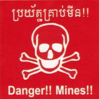 Plaque Metal DANGER MINES Cambodge Cambodia Metal Sign ROUGE Petit Format FRAIS DE PORT GRATUIT ! - Equipement