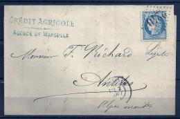 N° 60A Sur Lettre De MARSEILLE  - - 1871-1875 Ceres
