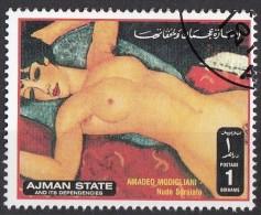 """Ajman 1972  """" Nudo Rosso """" Quadro Dipinto Da A. Modigliani Preobliterato Paintings Tableaux - Nudes"""