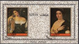 """Bf. 465B Ajman 1972 """" Ritratto Di Donna E Fanciulla """" Quadro Dipinto Da Tiziano Vecellio Titian  Painting Tableau - Nudes"""