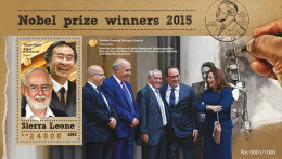 SIERRA LEONE 2015 - Nobel Prize Winners, President F. Hollande S/S. Official Issue. - Famous People