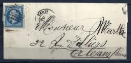 N° 14Aa BORD DE FEUILLE Sur Lettre De PARIS - AMBULANT Au Dos - 1853-1860 Napoléon III