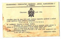 GRADJANSKO STRELJACKO DRUSTVO KRALJ ALEKSANDAR OSIJEK POZIVNICA, INVITATION 1935 SHOOTING CLUB RRARE - Tir à L'Arc