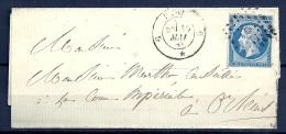 N° 14A  Sur Lettre De PARIS G - AMBULANT Au Dos - 1853-1860 Napoléon III