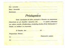 GRADJANSKO STRELJACKO DRUSTVO KRALJ ALEKSANDAR OSIJEK PRISTUPNICA, INTRANT SHOOTING CLUB RRARE - Tiro Con L'Arco