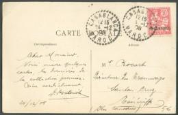 10 Centimos S/10 C. Obl. Sc CASABLANCA MAROC Sur C.V. (vue Du Chantier Du Nouveau Port Avec Un Train  Vapeur à Casablanc - Briefe U. Dokumente