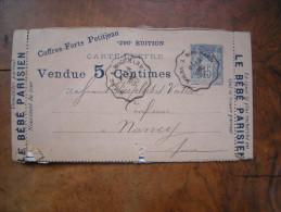 Entier Postal Type Sage (15c) Annonces Publicitaires (publicité), Oblitération Ferrovière 1890 Bourg à Mouchard - Non Classés
