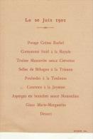 Menu 20 Juin 1901 - Menus