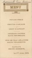 Menu 1 Avril 1934 Missinne - Menus