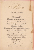 Menu Pour Senateur Hubert Van Willigen 1886 - Menus