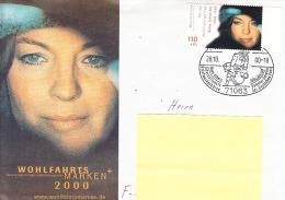 Allemagne-SINDELFLINGEN-28/10/2000- Cachet Commémoratif Hans Albers-sur Lettre Avec Timbre Romy Schneider - Cinéma