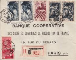 Recommandée De Paris 127 R. Des Archives  Avec Yvert  676 X 1- 764 X 2-- 827 X 1- Série Des Métiers  823 X 1--825 X 2 - 1921-1960: Modern Period