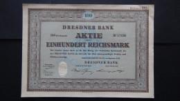 Germany - Dresdner Bank - Nr:121008/ 1952 - 100 Reichsmark Share + Coupons - Look Scans - Bank & Versicherung