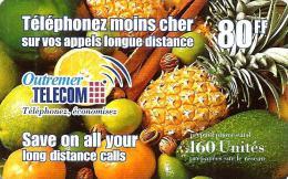 FRENCH ANTILLES  GUADELOUPE ETC 80 FR-160U FRUITS FOOD BRIGHT TYPE  ANTF OT2 READ DESCRIPTION CAREFULLY !! - Antillen (Frans)