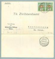 Heimat ZH  Uetikon A.See 1926-09-23 Portofreiheitsb. Paar Zu#8 GrNr824 200 Marken Ausg.! - Portofreiheit