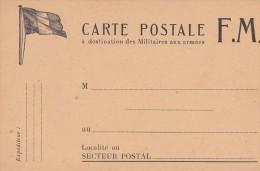 N°9  MILITARIA . Carte  F.M. (FRANCHISE MILITAIRE à Destination Des Militaires Aux Armées ( Drapeau N/B Haut Gauche ) - Guerre 1914-18