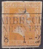 PREUSSEN 1857 König Friedrich Wilhelm IV 3 Silbergroschen Gelb Ohne WM Michel 8 (Mangelhaft) - Preussen