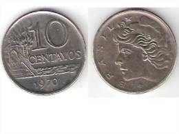 Brazil,10  Centavos 1970  Km 578.2  Xf+ - Brésil