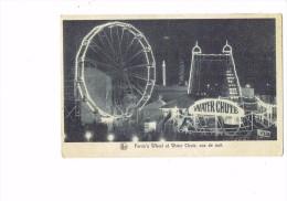 Bruxelles 1935 - La Lampe D´eclairage MAZDA - Ferrie's Wheel Et Water Chute - Manèges Vus De Nuit - Grande Roue - Brüssel Bei Nacht