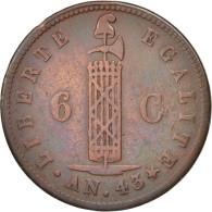 Haïti, 6 Centimes, 1846, TTB, Cuivre, KM:28 - Haïti