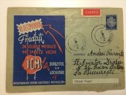 Romania 1958   Express Registred Postal Stationery Cover Recyclage Reciclarea Deseurilor - Postal Stationery