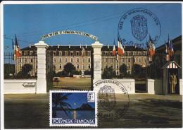 CPSM FONTENAY LE COMTE VENDEE LA CASERNE CENTRE FORMATION PROFESSIONELLE TIMBRE POLYNESIE 1 ER JOUR CARTE MAXIMUM 1979 - Fontenay Le Comte