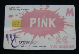 RARE MONTENEGRO CHIP CARD 100 UNITS (2 EURO) PINK 2004, BENT USED QUALITY, USED. - Montenegro